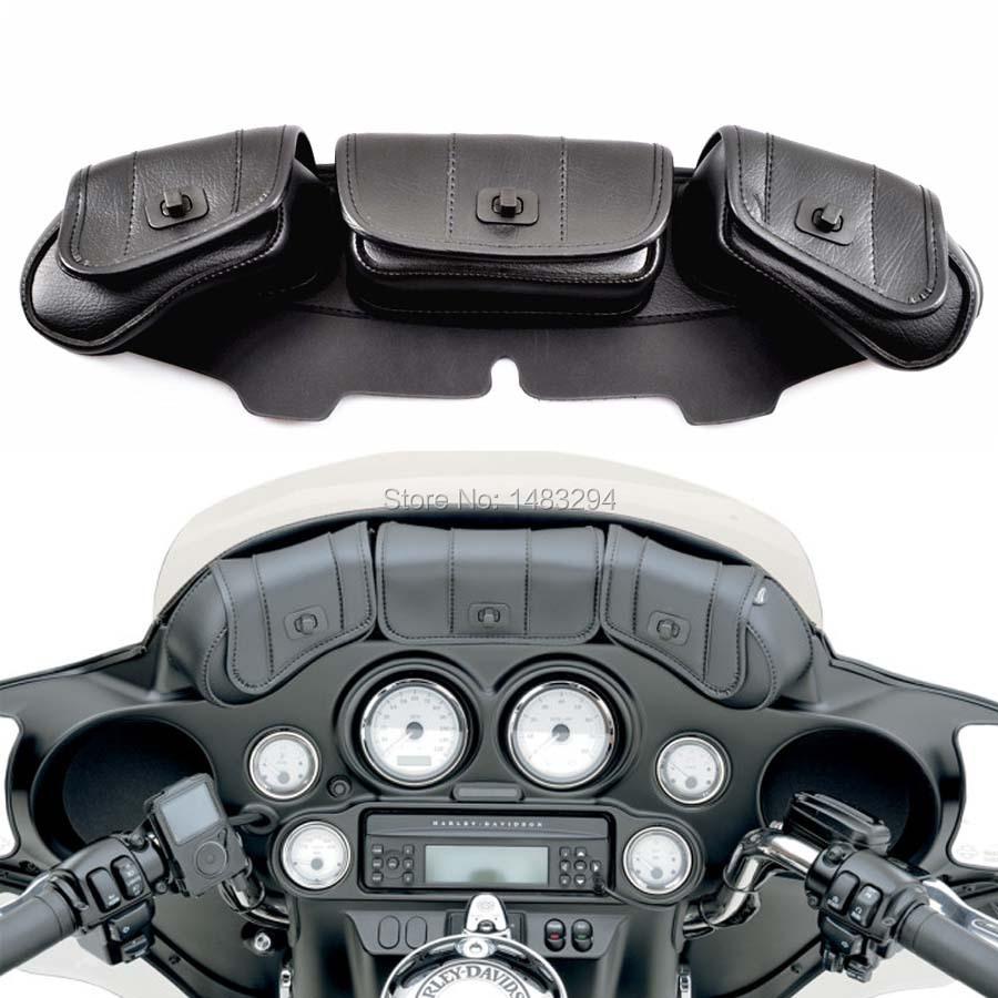 Prix pour Noir Moto Pare-Brise Sac Saddlemen Carénage 3 Poche Sac Adapte Pour Harley Touring Electra Street Glide Road King 1986-2013