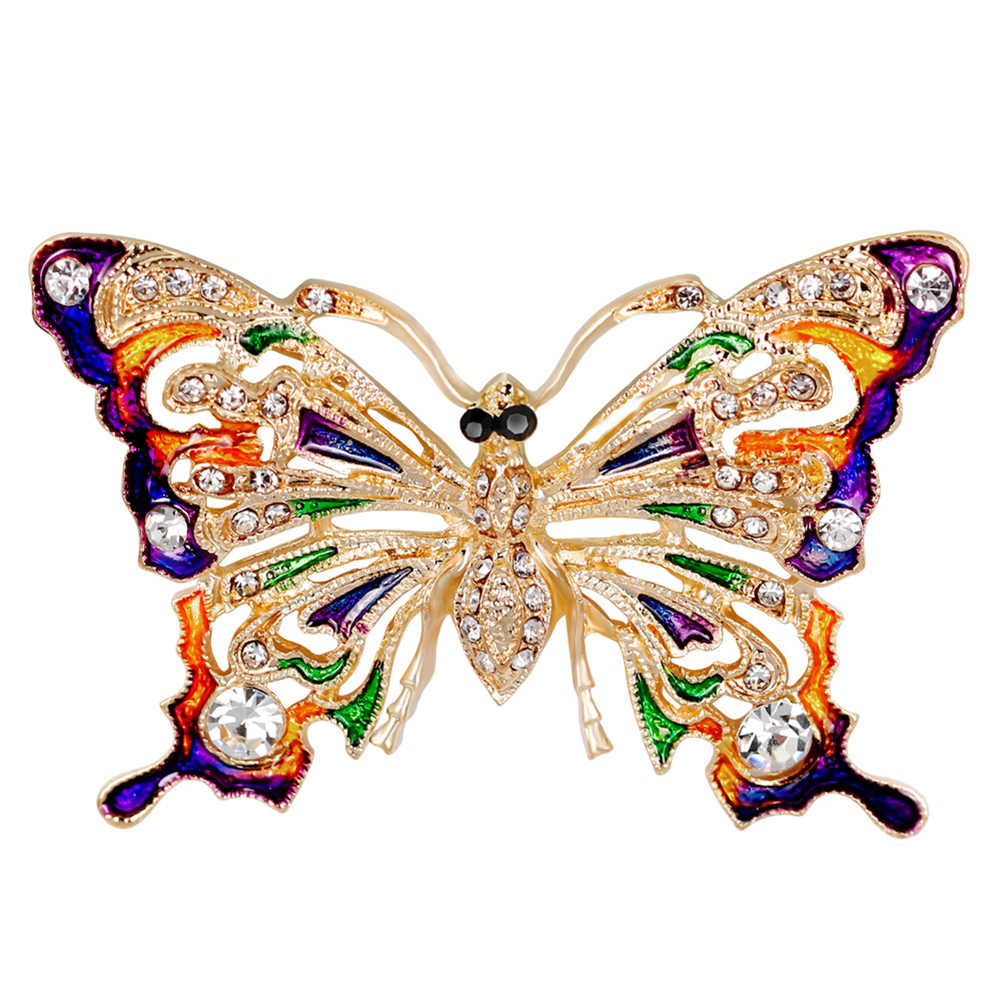 Women Vintage Rhinestone Butterfly Brooch Pin Evening Party Jewelry Ornament Hijab Scarf Btoches Mujer Joyas