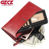 GZCZ Women Wallets Genuine Leather Coin Purse Long Design Clutch Cowhide Walet High Quality Fashion Female