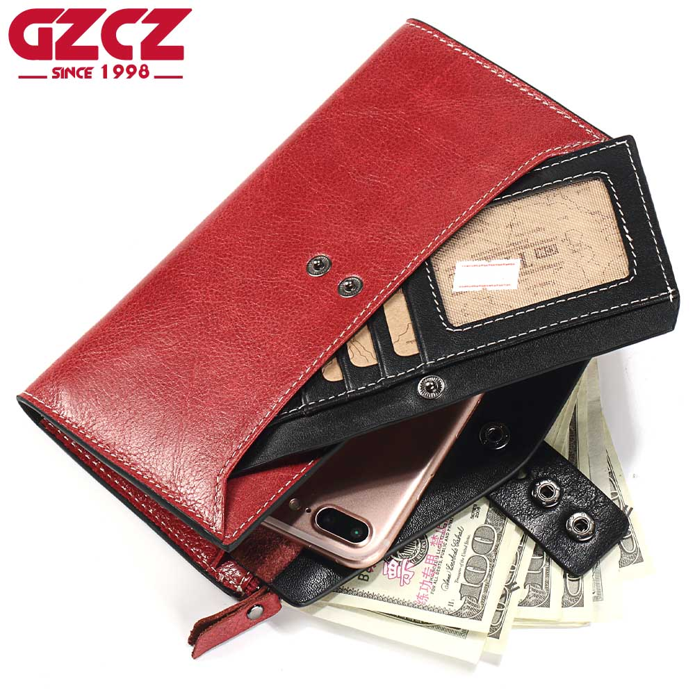 GZCZ Women Wallets Genuine Leather Coin Purse Long Design Clutch Cowhide Walet High Quality Fashion Female Purse Free Engrave