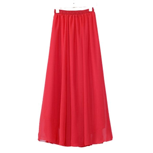 ef9eed5236 Comercio al por mayor de Las Mujeres Faldas Largas de La Gasa Del Color Del  Caramelo