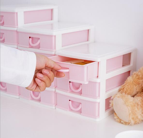 1PC Multi Layer Large Capacity Pink Dressing Case Jewel Case Drawer Type Storage Box for Girl ENV 005