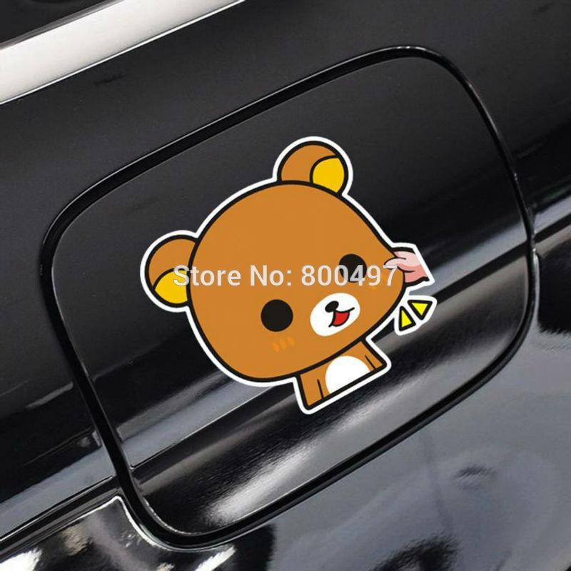 Newest Car Styling Car Covers Cartoon Bear Rilakkuma Car Stickers Car Decals For Toyota Chevrolet Volkswagen Tesla Kia Ford Lada