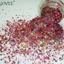 Голографический лазерный розового цвета Цвет ногтей Блеск Mix шестигранной блестка Спангл порошок Форма для DIY Nail Art Макияж Блеск Craft