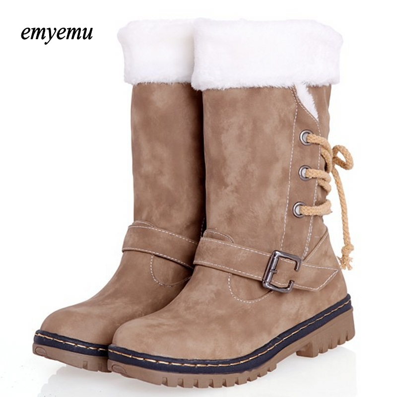 Big size motorcycle boots fashion plat mid-calf boots warm winter boots for women shoes Eur size34-43 double buckle cross straps mid calf boots