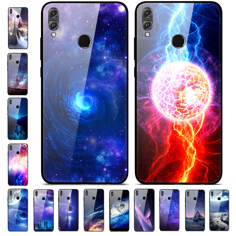 A For Huawei Honor 8X Case 6 5'' Tempered Glass Hard Back Cover For Huawei  Honor 8X Honor8X Case Honor 8 X Soft Bumper JSN-L21