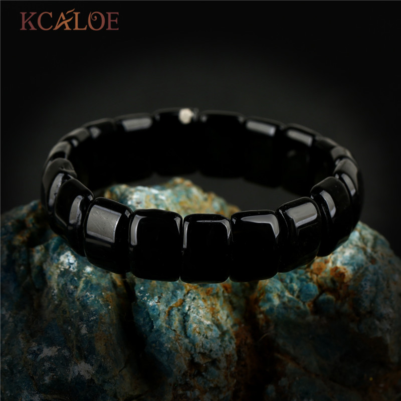 KCALOE Vintage Jewelry Black Onyx Chakra Bracelet For Women Men Square Natural Stone Yoga Charms Bracelets & Bangles Pulsera все цены