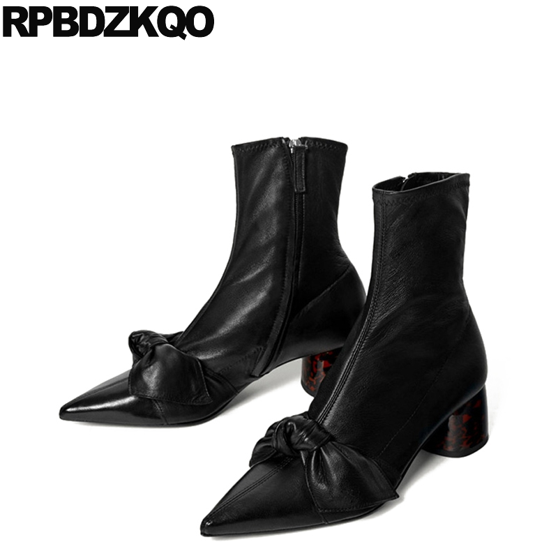 Sexy Trend High Heel Autumn Boots Bow Waterproof Mid Calf Fall Chunky Brand Designer Shoes Women Luxury 2017 Black Pointed Toe pointed toe silver women mid calf boots short booties fashion luxury brand star runway dress zippered shoes sexy high thin heel