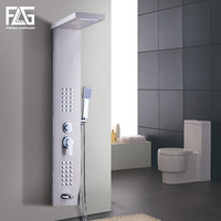FLG Stainless Steel Rain Waterfall Shower Panel Modern Wall Mounted SPA Massage System Shower Column Kit with Jets Handshower