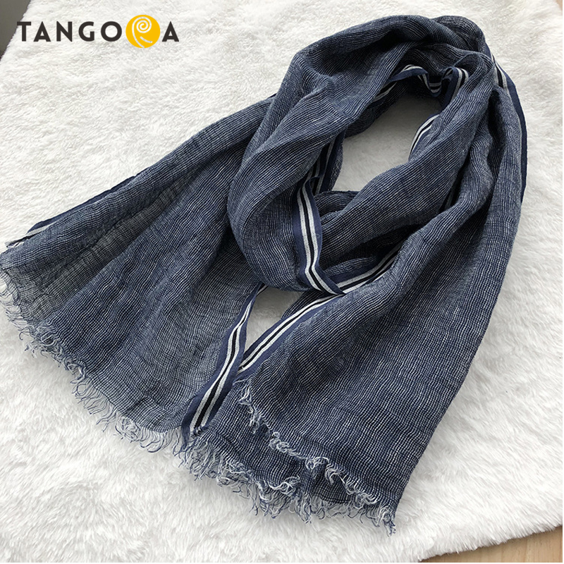 TANGORA 100%Linen Blue Striped Men Summer Scarves LL05