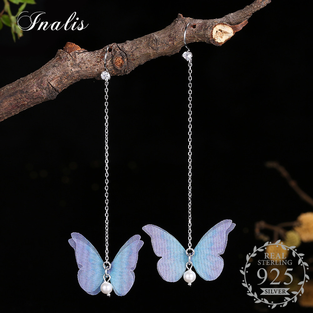INALIS Women Earrings 925 Sterling Silver Long Drop Earrings Colorful Butterfly Simulated Pearl Bijuterias Wedding Party