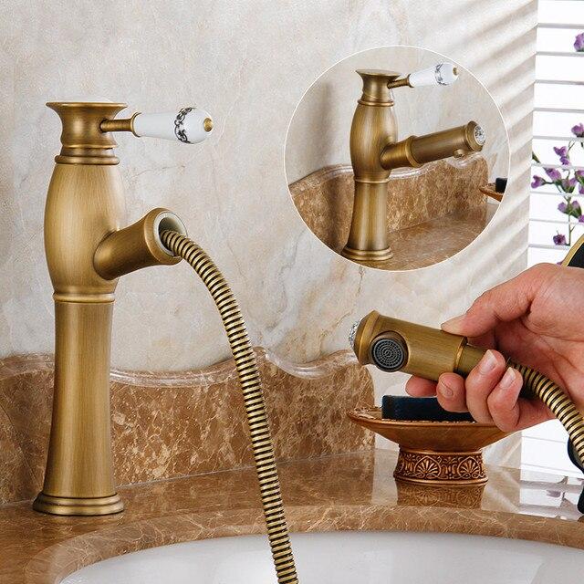Pull Out Faucet Antique Brass Basin Faucet Bronze Faucet Vintage