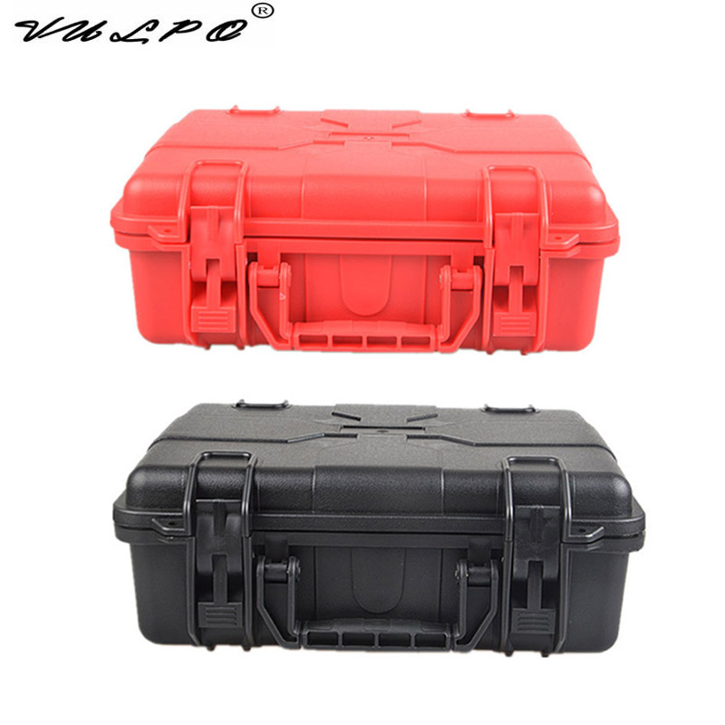 VULPO ABS Airsoft Pistol Case Tactical Hard Pistol Storage Case Gun Case Padded Hunting Accessories Gun Carry Box BK Red