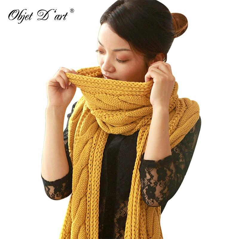 ac19ce01763d Bufanda cálida de invierno de marca de lujo bufandas tejidas chales Stoles  para mujeres bufanda Collar primavera bufanda de ganchillo sólido para ...