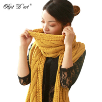 Dropshipping Autumn Winter Woman Fashion New Yellow Hot Korean Cute Long Knitted Wool Warm Scarf For