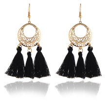 Bohemian Ethnic Handmade Long Earrings Round Circle with Colorful Cotton Vintage Dangle Earrings Women Fashion Accessories E0267(China)