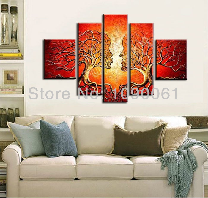 Hand Painted Abstract Art Paintings Trees Lovers Romantic Kiss Canvas Decorative Picture Modern 5 Panel Sets Without Frame - Enjoy Living Museum store