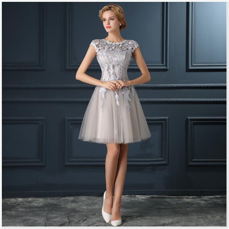 Robe De Soiree 2017 gery u collar Lace Up short evening dress abendkleider vestito da sera prom dresses party dresses 4 colors 7