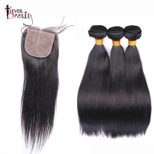 3 Human Hair Bundles With Silk Base Closure Brazilian Straight Hair Weave Bundles With Closure 4×4 Part Ever Beauty Hair Remy