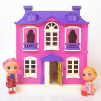 Dollhouses toys happy family theme villa house princess house room toy suit with light music Furniture Kits girl child doll gift