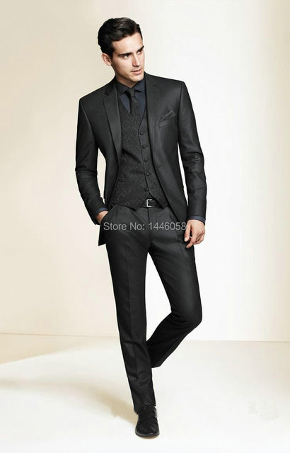 2016 Hot Sale Bespoke Men Suits Classic Slim Fit Black Wedding Dress Groom Tuxedos Prom Suits 3 Piece Men Wedding Suits