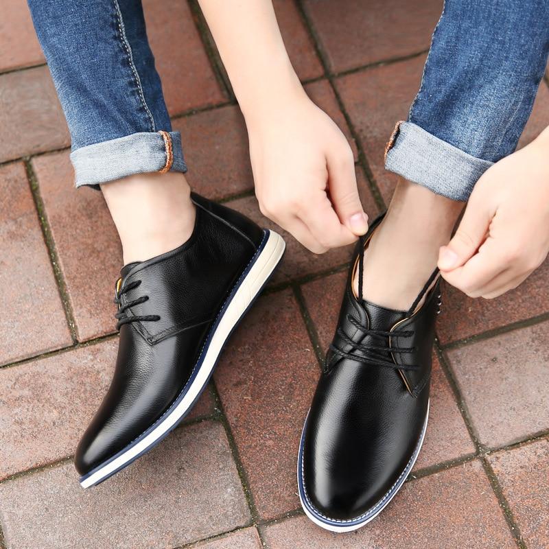 Oxford Lace Moda Homens Nova 2018 black Couro Dos Sapato Casuais Outono Genuíno De Qualidade Up blue Alta Sapatos Da Trabalho Brown Yellowish Baixos fZ6wp6