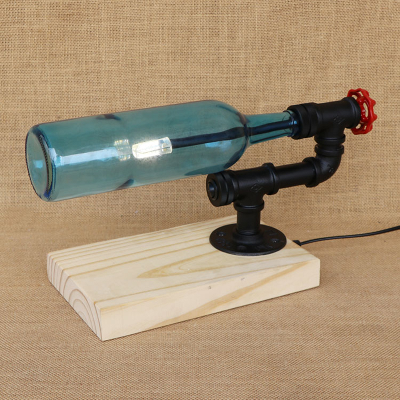 Modern Bottle lampshade desk light include G4 bulb with switch wood base tabel light for bedroom bedside office study 220V modern bottle lampshade include g4 bulb desk lamp with switch wood base tabel light for bedroom bedside office study 220v