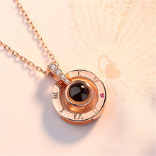 Rose Gold&Silver 100 languages I love you Projection Pendant Necklace Romantic Love Memory Wedding letter Necklace 12v 7a pulse battery charger digital with lcd display motorcycle car battery charger agm lead acid smart fast battery charger
