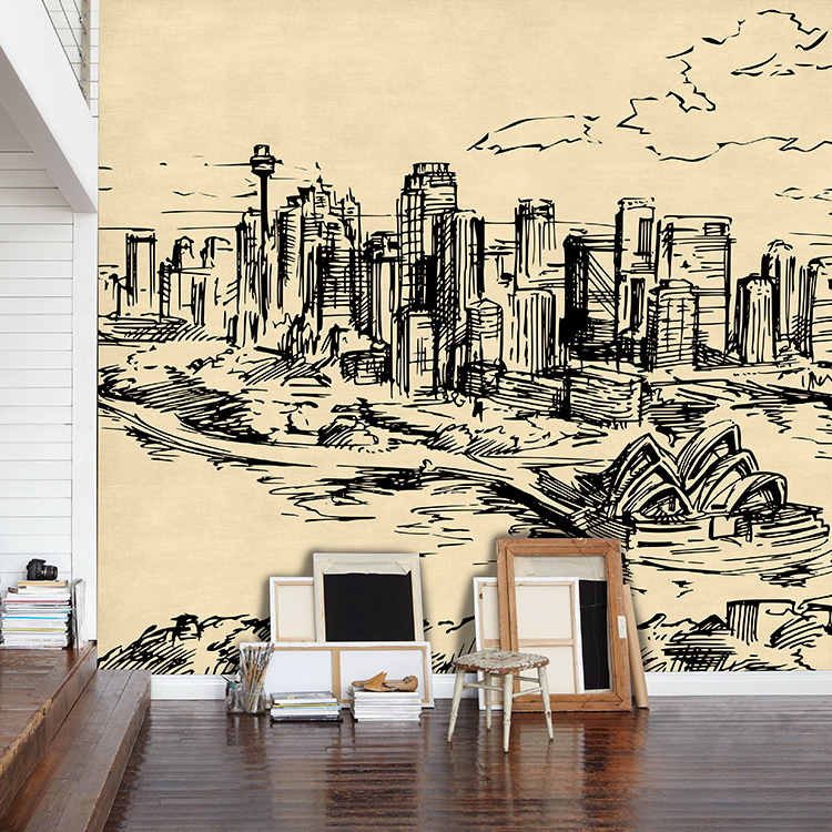 Buy simple hand painted custom sketch of for Cafe mural wallpaper