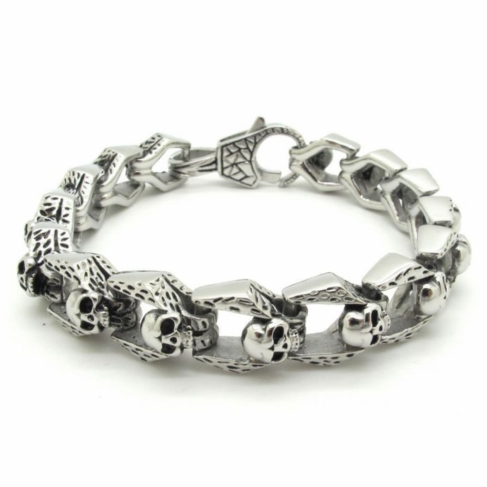 New Arrival Bracelet Men's Accessories, Fashion Men Stainless Steel Skull Bracelet Punk Style Skull Chain Bracelet цена 2017