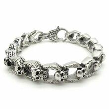 New Arrival Bracelet Men's Accessories,  Fashion Men Stainless Steel Skull Bracelet Punk Style Skull Chain Bracelet