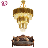 Youlaike Luxury Modern Crystal Chandelier For Living Room Large Hotel Hall Staircase Gold Stainless Steel Chandeliers Lighting