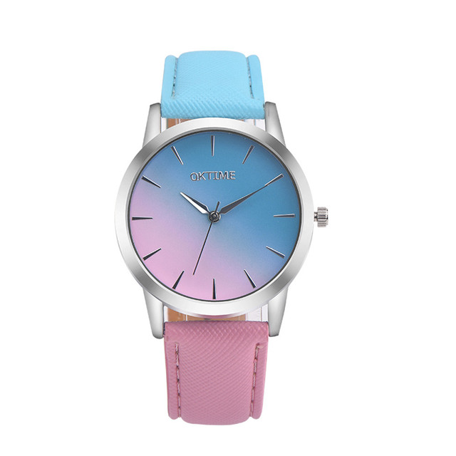 Fashion montre femme quartz watch women Rainbow Design Leather Band Analog Alloy Quartz Wrist Watch  clock women gift #5
