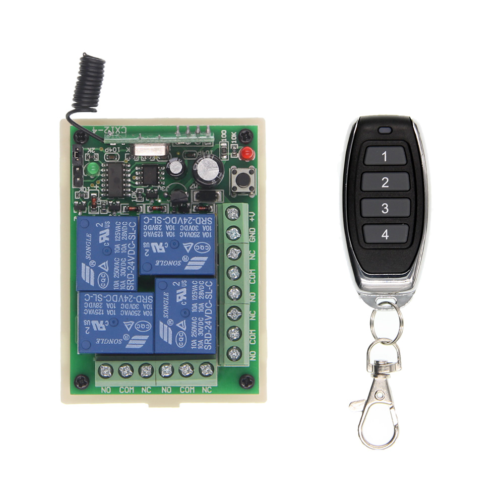 Universal DC 12V 24V 10A 4CH 4 CH Relay Wireless RF Remote Control Switch Transmitter+Receiver Module,315 / 433.92 MHz 12v dc 4ch relay 1 receiver