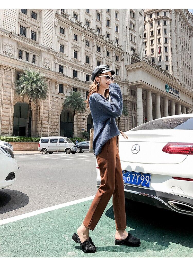 19 Autumn New Women Elastic Woolen Pant Female Plus Size Casual Trousers Black/Gray Harem Pants Winter Wool Ankle-Length Pants 24