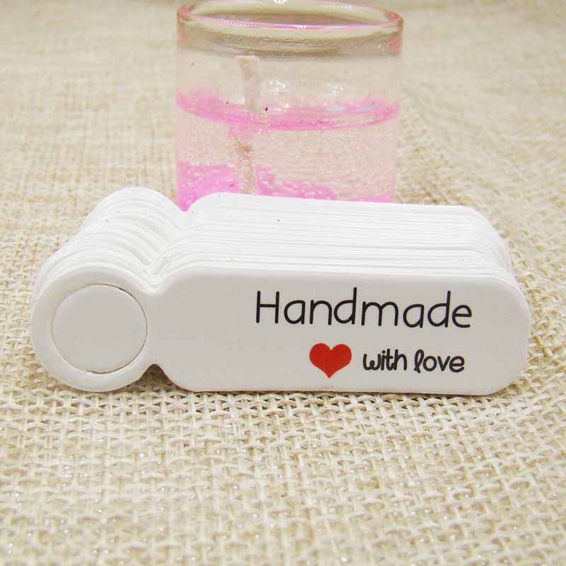 100pcs Per Lot Kraft Jewelry Hang Tag DIY Hande Made With Love Gift Tag Packing Box Label Tag Ustom Logo  Cost Extra