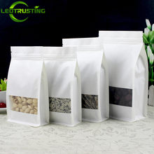 50pcs White Stand up Paper Window Packaging Bag Snack Cookie Tea Packaging Frosted Window Ziplock Bag Gift Bags Pouches(China)