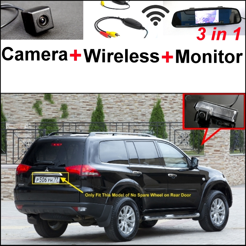3 in1 Special Camera + Wireless Receiver + Mirror Monitor Easy DIY Backup Parking System For Mitsubishi Pajero Sport 2008~2015 wireless pager system 433 92mhz wireless restaurant table buzzer with monitor and watch receiver 3 display 42 call button
