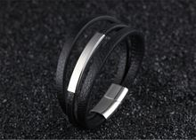 Модный Многослойный кожаный браслет с магнитной пряжкой из титана
