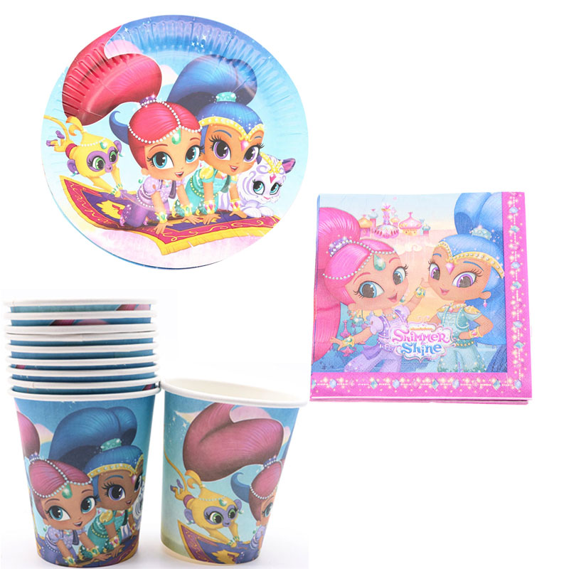 40pcs/lot Disposable tableware Cup Plate Napkins Shimmer and shine birthday Wedding decoration supplies for baby shower40pcs/lot Disposable tableware Cup Plate Napkins Shimmer and shine birthday Wedding decoration supplies for baby shower