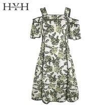 HYH Haoyihui Femme Stylish Elegant Bohemian Slash Neck Short Sleeves Strap A-Line Slit Floral Graceful Middle Cami Dress surplice slit cami club dress