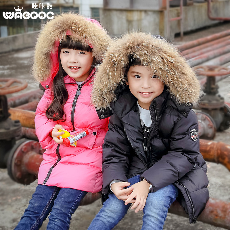 Brand Boys Girls Long Down jackets/coats winter Russia baby Coats thick duck Warm jacket Children kids Outerwears Raccoon fur casual 2016 winter jacket for boys warm jackets coats outerwears thick hooded down cotton jackets for children boy winter parkas