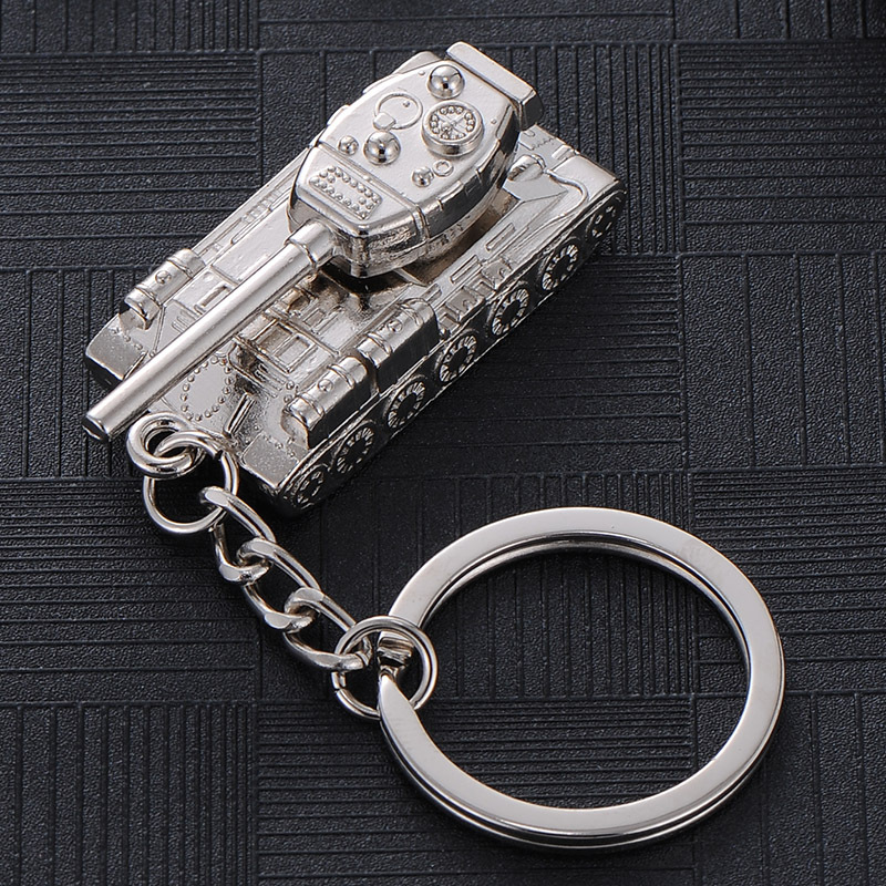 New creative men's car pendant personality <font><b>tank</b></font> world <font><b>T34</b></font> key chain <font><b>model</b></font> waist hanging small gift clasp image