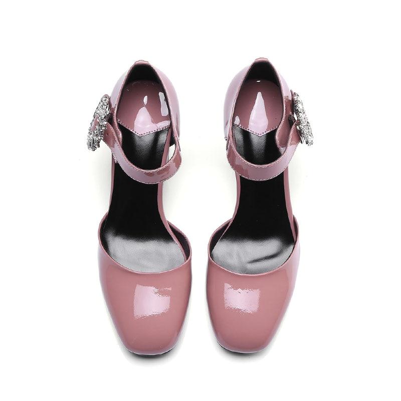 Cheville Noir Sangle Chaussures Bout Mode Cristal D'été Sandales Talons Boucle De Sabot Femmes Mouillé Hauts 2019 Carré rose Baiser Soirée wNk8nPX0O