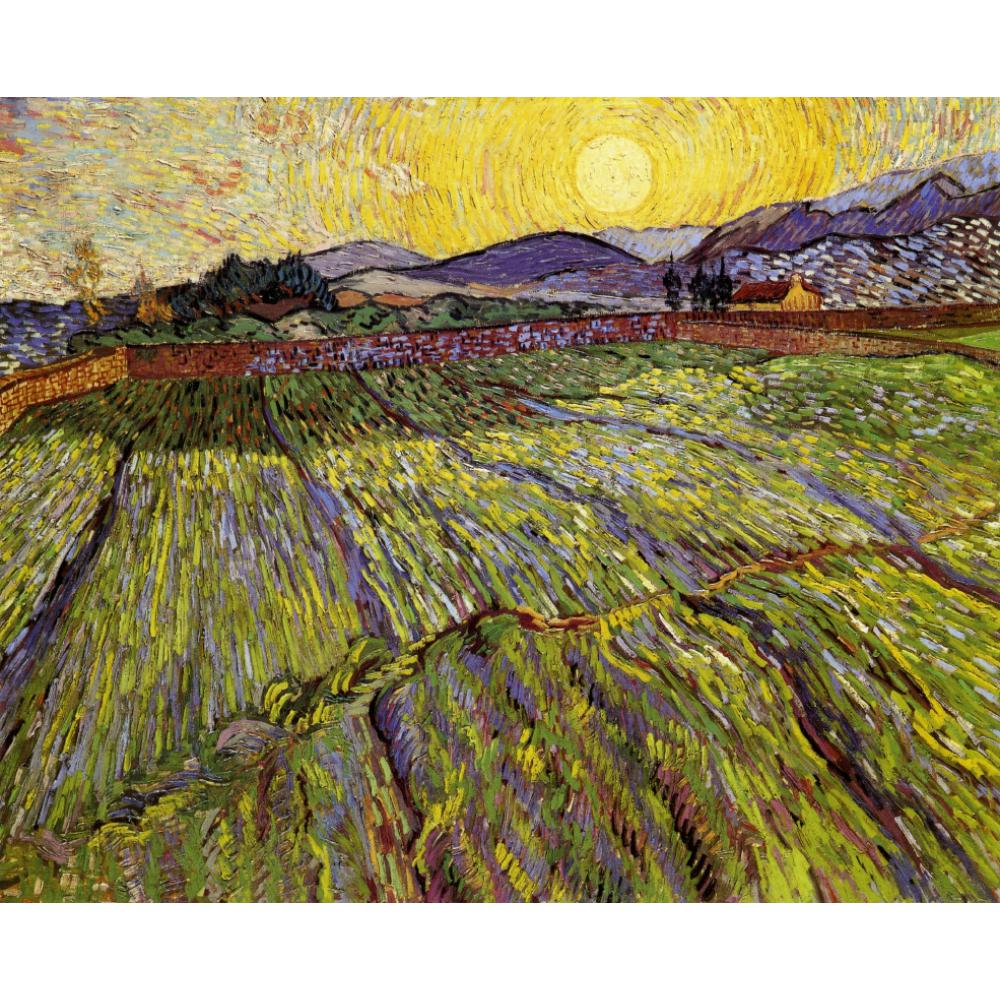 Classic oil painting on canvas Enclosed field with rising sun Vincent Van Gogh handmade art wall home decor