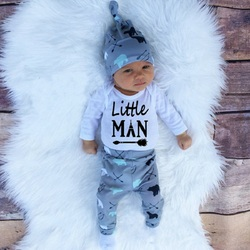 2019 новый осенний комплект одежды для маленьких мальчиков, хлопковый комбинезон с длинными рукавами + брюки + шапка, 3 предмета Комплект одежд...