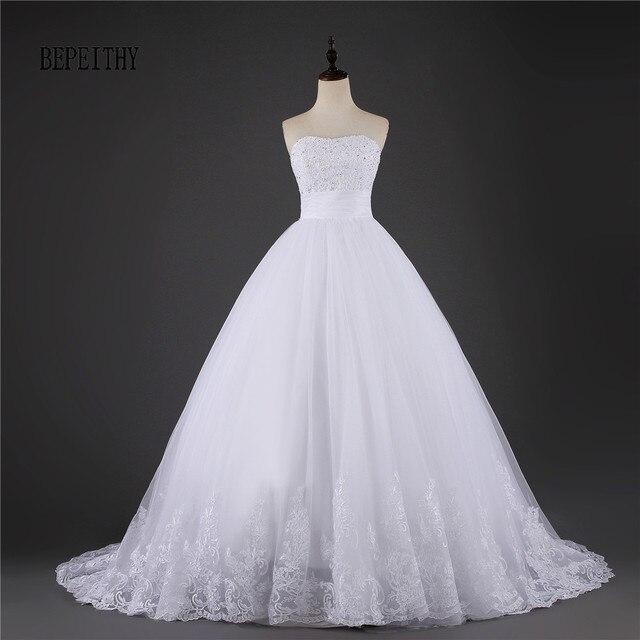 bepeithy precio barato de la vendimia vestido de novia blanco de