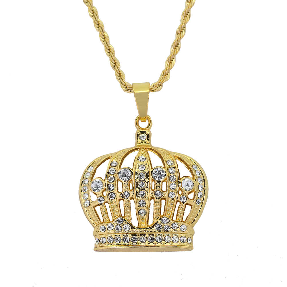 103c72c0200b5 Hip Hop King Crown Pendants Necklace Iced Out Rhinestone women Necklace  24inch Stainless Steel Rope Chain N579