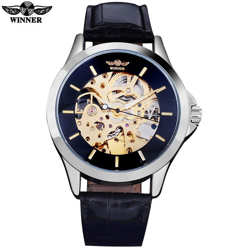 meet 1f5c9 94c51 Ganador relojes de marca hombres automático esqueleto mecánico relojes moda  casual banda de cuero artificial reloj