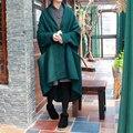 Johnature abrigos de lana las mujeres de la vendimia 2016 de invierno nueva loose botón bolsillos manga murciélago mezclas abrigos original ropa caliente más el tamaño